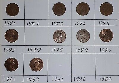 Job Lot British Coins  1971 to 1982 Elizabeth II DECIMAL HALF PENNY