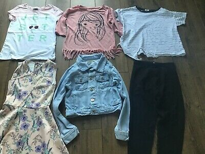 girls clothes bundle age 9-9-10 Years Dress T.Shirt Top Denim Jacket Leggins