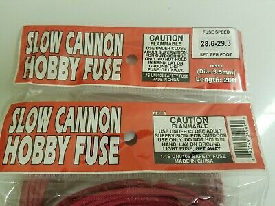 Cannon Fuse Label Slow Hobby Fuse 3.5 Mm 28.5-29.5 Sec 40Ft