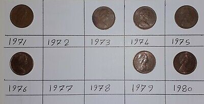 Job Lot British Coins  1971 to 1980 Elizabeth II DECIMAL HALF PENNY