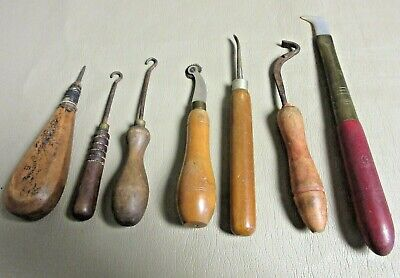 7 French Antique Cobblers Tools-Wood, Metal, Brass-Old Mercantile Shoes
