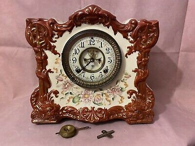 Antique Ansonia Porcelain Hand Painted Clock Osceola
