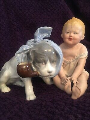 "Heubach 8"" Piano Baby & 10"" Dog With Pipe Marked"