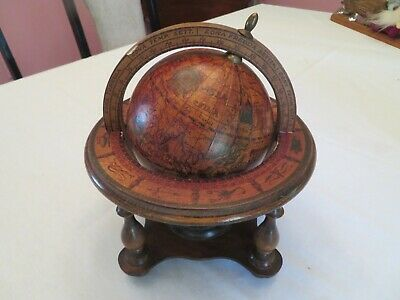 Vintage Wooden Olde World Antique Style Astrological Desk Globe - Made in Italy