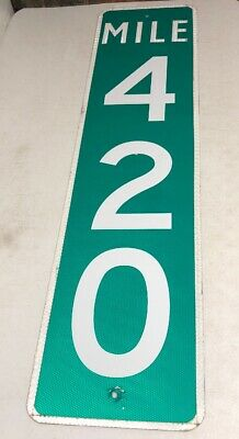 Authentic Retired Repurposed Texas Mile Marker 420 Highway Sign