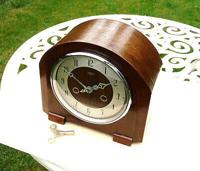 Vintage restored 1940s    Enfield striking  mantle clock with progress brass key