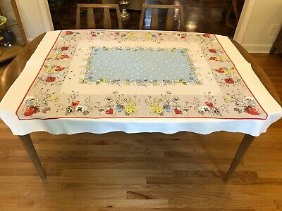 Vinage 1950's Print Floral Tablecloth Atomic Flowers Mid Century Modern MCM