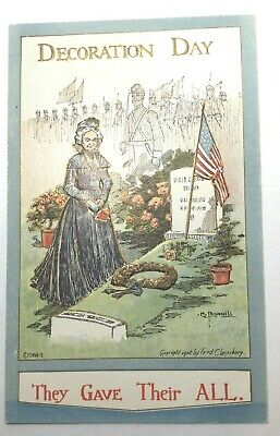 Vintage Patriotic Postcard, Decoration Day, Artist Bunnell, Loonsberry, Unposted