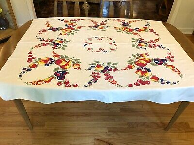 Vintage Fruit Print Tablecloth 1940's Cherries Strawberry Apples Red