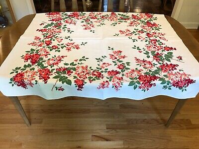 Vintage Print Tablecloth Rosemary Prints Red Pink LIlacs 1950's