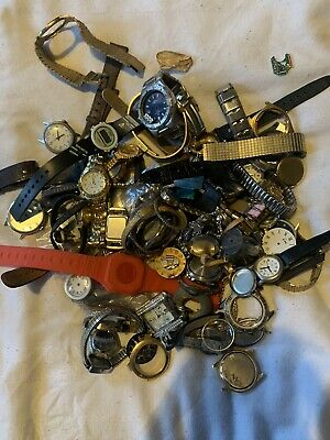Job Lot Vintage Watches and Watch Parts 1.5KILOS *READ DESCRIPTION*
