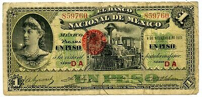 Genuine 1913 National Bank of Mexico 1 Peso