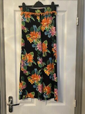 Fab Girls River Island Black Bright Floral Floaty Pants Trousers Age 9-10 Yrs