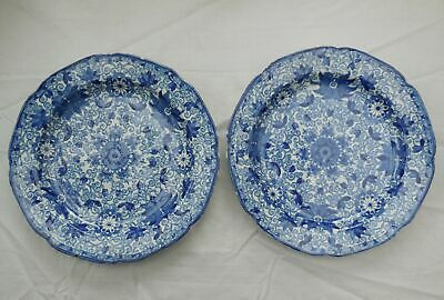 Antique Chinese Blue & White Floral Plates x 2