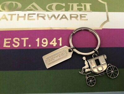 Coach Horse Carriage Key Chain Ring Charm Fob Silver Tone Metal Large Nwot Rare