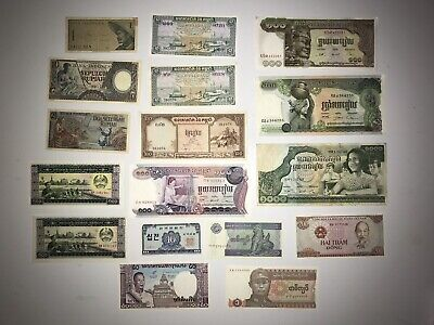Lot Of 17 Asia Currency Cambodia Thailand Vietnam Burma