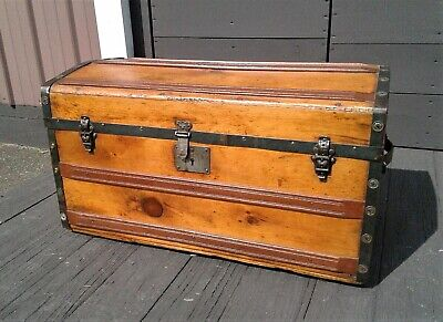 Antique Studded Wooden Dome Top Steamer Trunk with Tray 1870s Era