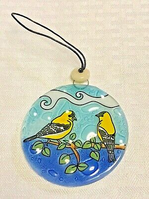 Goldfinch Couple Glass Ornament
