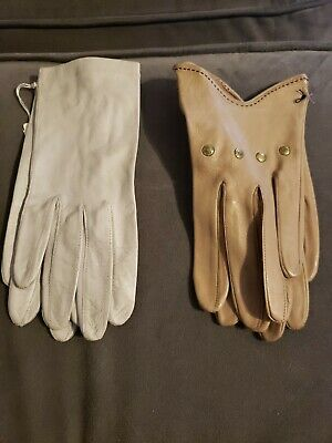 women leather gloves brown & gray vintage from the 50 era sz 7 1/2 Grandoe 2 Pr.