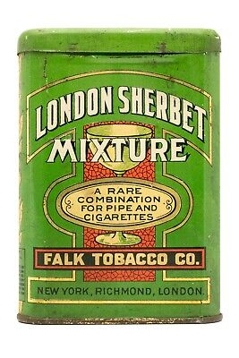 "Scarce 1910s ""London Sherbet"" litho hinged pocket tobacco tin in good condition"