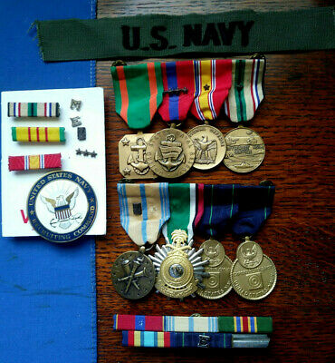 Us Navy Gulf War 8 Medal Group, Mounted As Worn, W/ Recruiting Badge, Ribbons