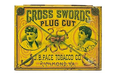 "Scarce 1910s ""Crossed Swords"" litho hinged  4oz. tobacco tin in very good cond"