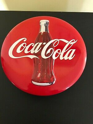 Coca-Cola Embossed Red Round Button Metal Storage Tin
