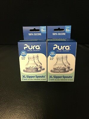 Pura 4 Pack Kiki XL Sipper Spouts Stainless Vente Nipple Baby Bottle Sippy NEW