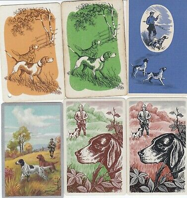 DOGS - 6 old  single vintage swap playing cards