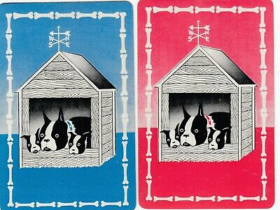 DOGS -- set of 2 -   old single vintage swap playing cards