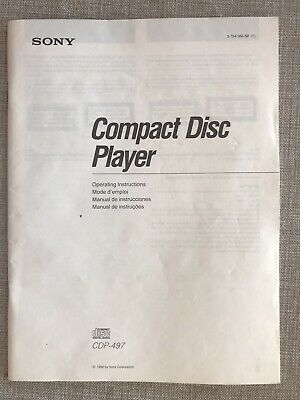 Sony CDP-497 - CD Player - Operating Instructions - USER MANUAL