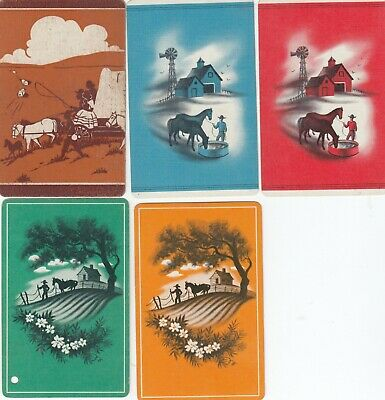 HORSES & FARMS - 5   old single vintage swap playing cards