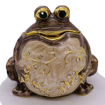 Fat Belly Frog Toad Enamel Jeweled Pill Trinket Box Hinged Brown Spotted Back