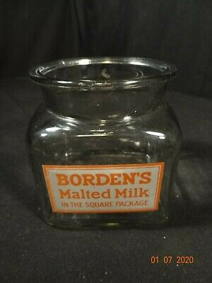 Vintage BORDEN'S MALTED MILK-In The Square Package•Square Glass Counter Top Jar