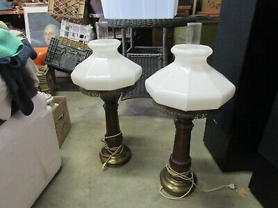 Vintage Wood Table Lamp Pair With Milk Glass Shades.