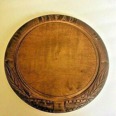 "Antique Primitive Round Wooden Bread Board With Hand Carving ""Bread"" Farmhouse"