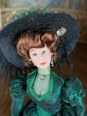 Vintage Mini Dollhouse Doll Artisan Porcelain Victorian Lady Green Dress Parasol
