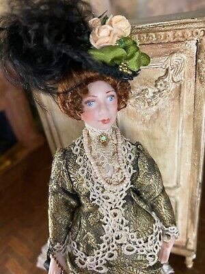 Vintage Mini Dollhouse Doll Artisan Porcelain Victorian Lady Fabulous Clothing