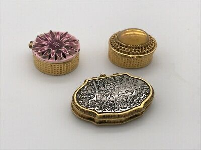 Lot of 3 Miniature Compacts Pill Boxes / Containers Art Nouveau Style Silver