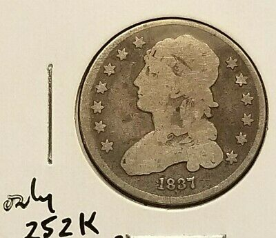 1837 Bust Quarter In Vg Condition, Low Mintage