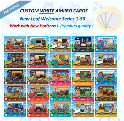 NEW LEAF WELCOME SERIES - CUSTOM WHITE Animal Crossing Amiibo Cards 1 to 50