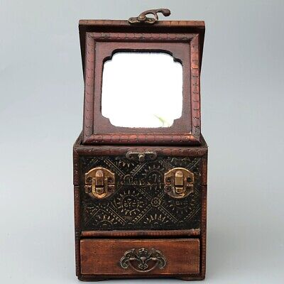 Collect China Old Boxwood Hand-Carved Bloomy Flower Delicate Mirror Jewel Box