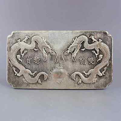 Collect Old Tibet Silver Hand-Carved Double Dragon Chase Sun Auspicious Pendant