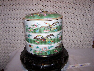 guangxu? STACKING BOX Chinese Antique Famille Rose Porcelain BUTTERFLY & LOTUS