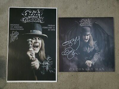 Ozzy Osbourne Signed Autographed Ordinary Man vinyl + event poster