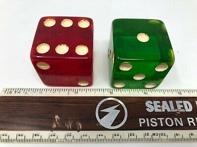"Vintage Pair of Green and Red Bakelite Large Dice 140.51 Grams 1 7/8"" Circa 1950"