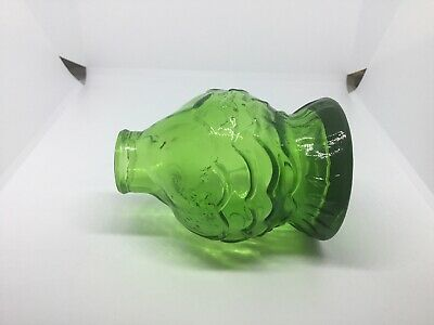 "Wheaton Green Glass Fish Bottle 3 1/2"" Tall x 2 1/2"" Wide Vintage"