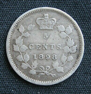 Canada 1898  Victoria Sterling Silver Five Cents