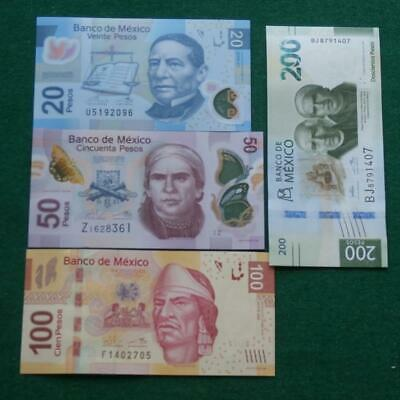 Lot of 4 Mexican 20,50,100 & 200 UNC Pesos Bills Currency Current