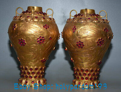 """9.6"""" Collect Antique China Bronze 24K Gold Gilt inlay Gem Dynasty Bottle Pair"""